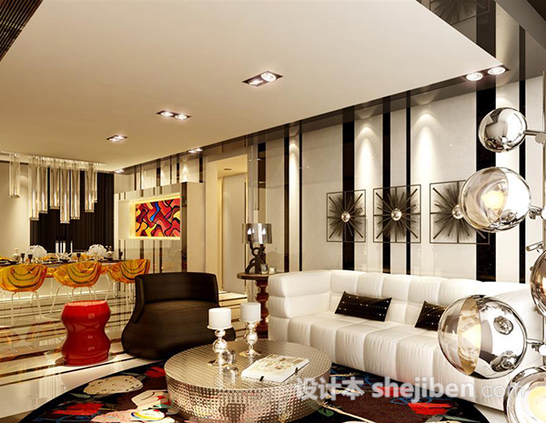 现代客厅3d模型免费下载