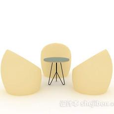 休闲桌椅组合3d模型下载