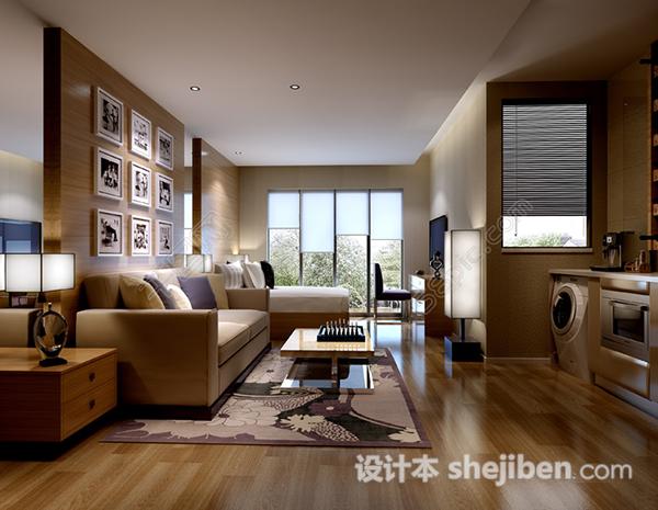现代简约小户型客厅卧室