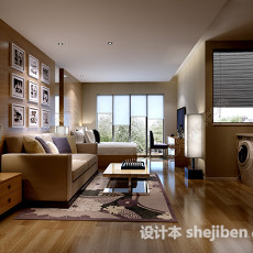 现代简约小户型客厅卧室3d模型下载