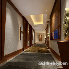 新中式走廊过道3d模型下载