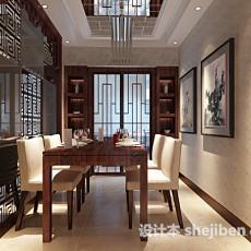 新中式家居餐厅3d模型下载