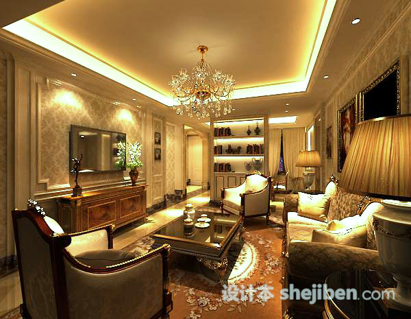 欧式家居客厅3d模型