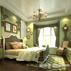 美式田园卧室3d模型下载