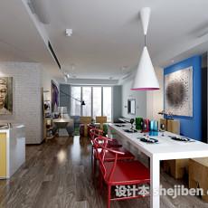 现代时尚家居餐厅3d模型下载