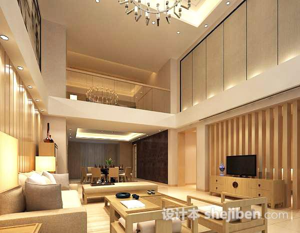 现代复式家居客厅3d模型下载