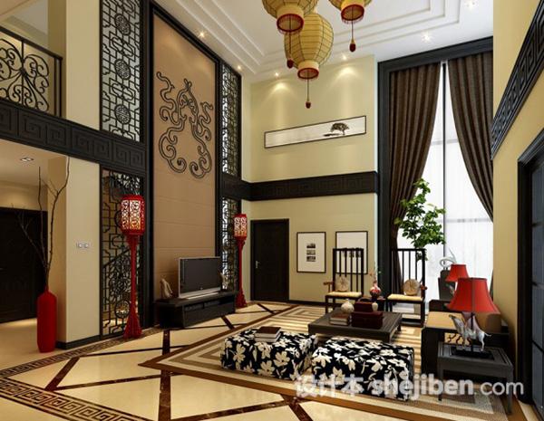 中式家装别墅客厅模型