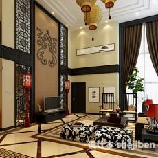 中式家装别墅客厅3d模型下载