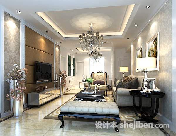 欧式客厅吊灯3d模型