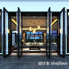 家装客厅门3d模型下载
