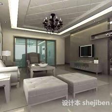 现代白色客厅3d模型下载