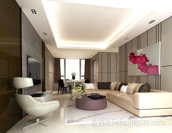 现代客厅挂画模型