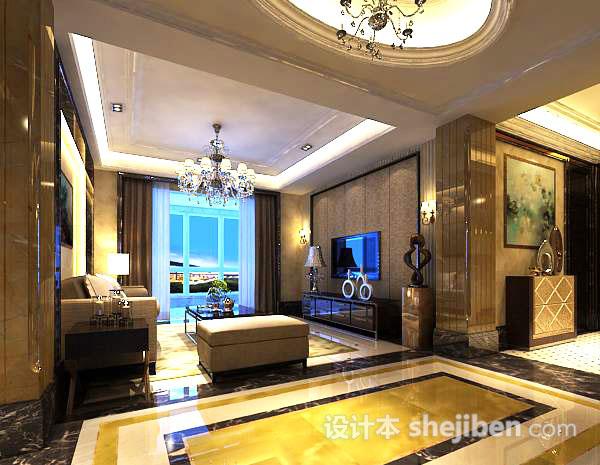 欧式客厅整体3d模型