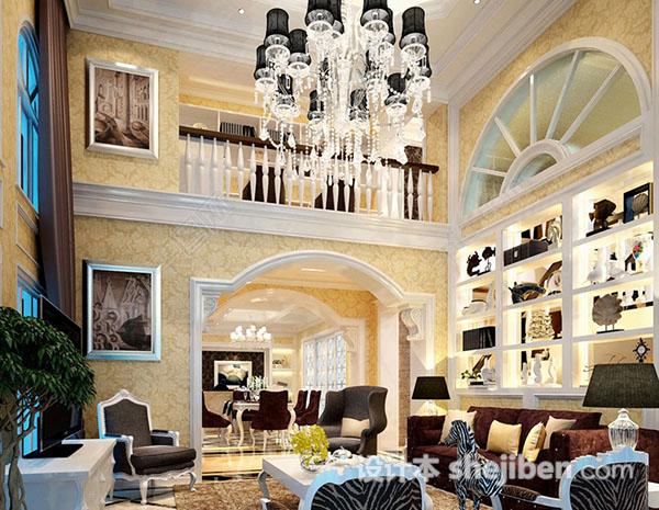 别墅客厅整体模型