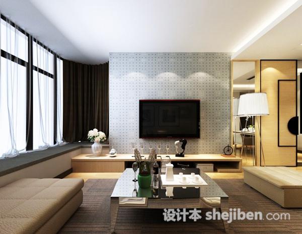简约客厅电视墙模型
