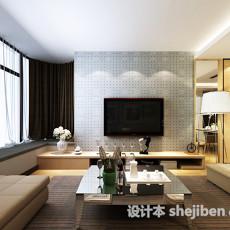 简约客厅电视墙3d模型下载