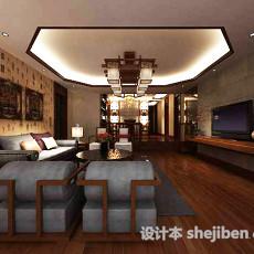 中式家居客厅3d模型下载