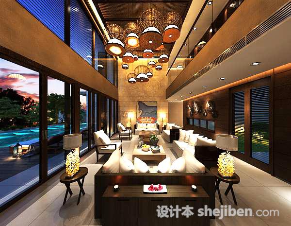 别墅中式客厅吊顶模型