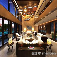 别墅中式客厅吊顶3d模型下载
