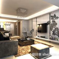 现代客厅电视墙3d模型下载