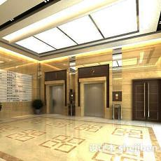 现代电梯走廊3d模型下载