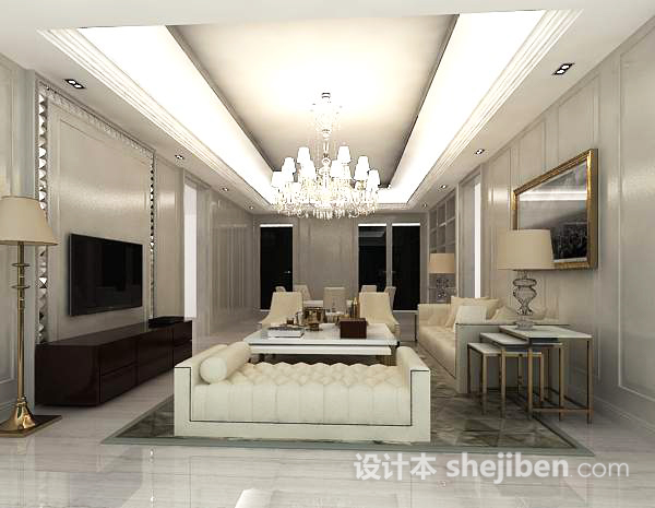 3d欧式客厅模型下载