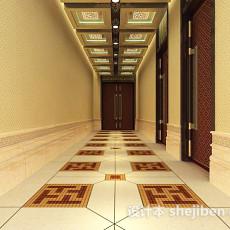 中式走廊过道3d模型下载
