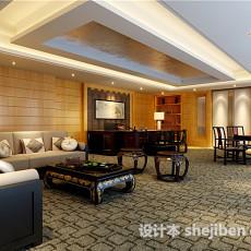 中式办公室家具3d模型下载