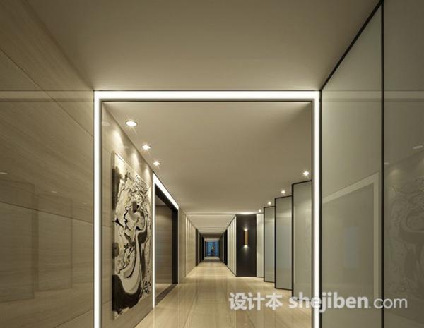 办公区走廊3d模型