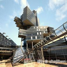 中式商业建筑3d模型下载